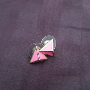 Gold pink triangle earrings